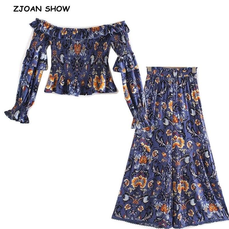 Conjunto de 2 piezas de Bohemia 2019, camisa de manga larga con estampado floral y cuello barco elástico acanalado, pantalones de pierna ancha y volantes para mujer elásticos