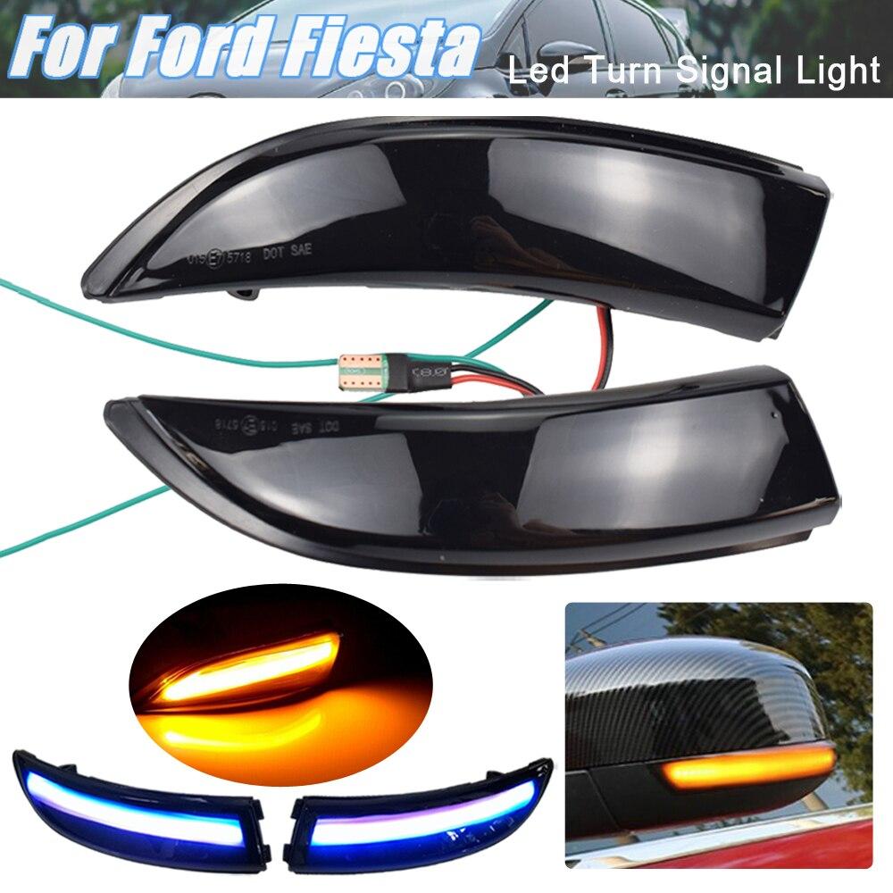 2xFlowing Turn Signal LED Bicolor Luz Para Ford Fiesta 2008-2017 B-Max 2008-2017 Lado retrovisor Espelho Blinker Indicador Dinâmico