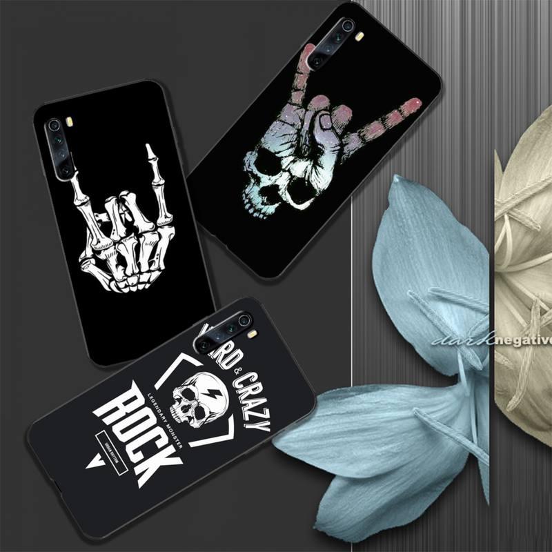 Rock rolo crânio silicone caso capa de telefone para xiaomi redmi 4x 5 plus 6 6a 7 7a 8 8a 9 nota 4 8 t 9 pro max funda