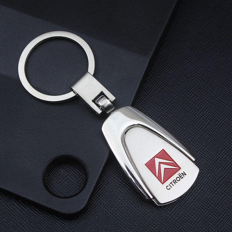 Moda creativa para Citroen Trapezoidal Logo de coche marca llavero Metal accesorios llavero 4S tienda pequeños regalos personalización