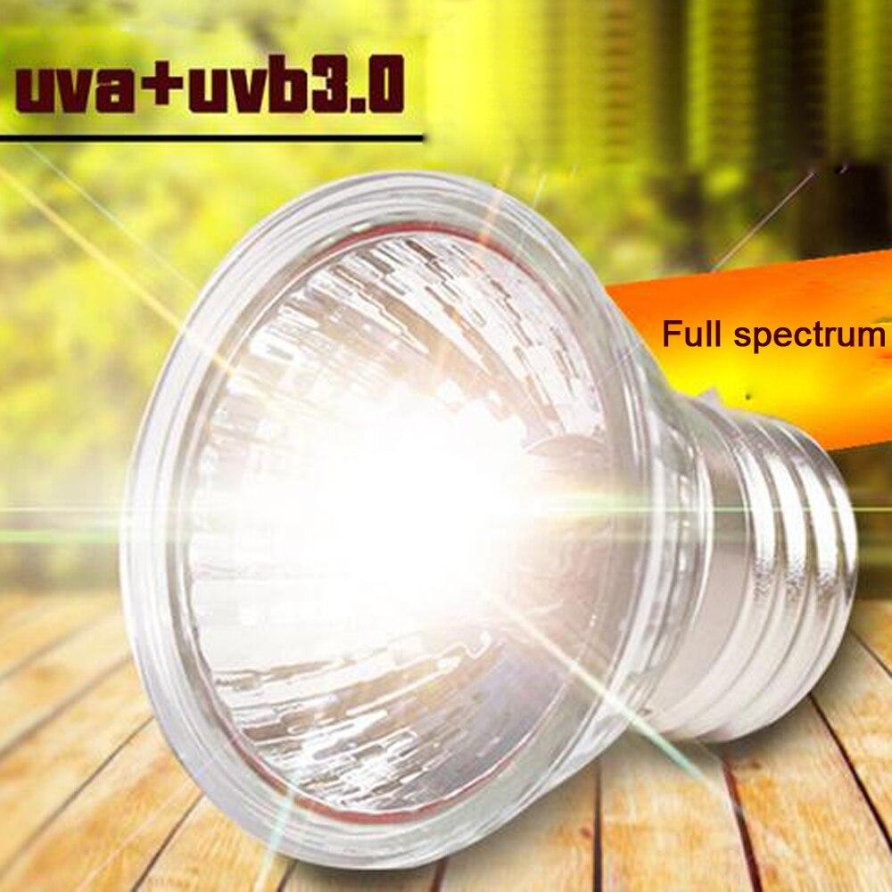 2 unids/pack 25/50/75W UVA + UVB 3,0 lámpara para reptiles tortuga mascota Basking bombillas UV lámpara de calefacción anfibios Control de temperatura