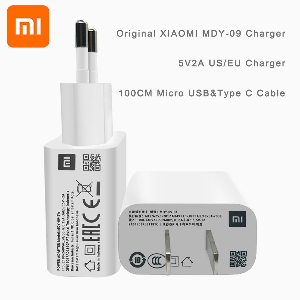 Оригинальное Xiaomi mi 5 в 2A USB настенное зарядное устройство EU US mi cro usb type C кабель для передачи данных для mi 2 3 4 Red mi 4 X A 7 Note 4X5 A 6 A 7A S2 S1