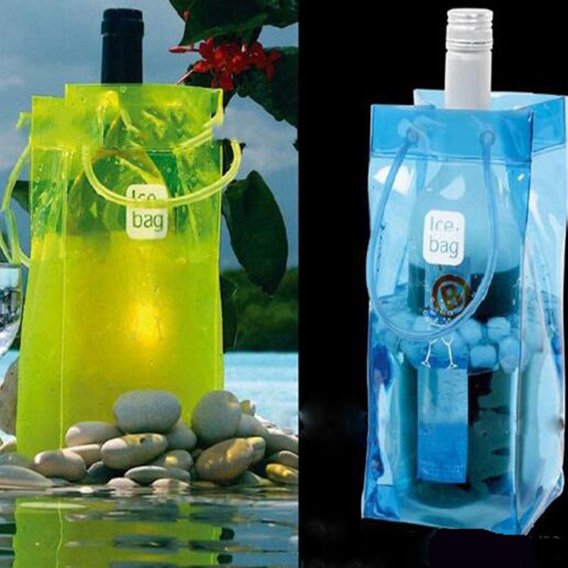 PVC Wine Beer Champagne Bucket Drink Ice Bag Bottle Cooler Chiller Foldable Carrier Party Gift Bag Kitchen Supplies Color Random
