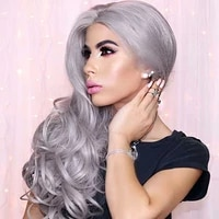long silk straight lace front wigs hair wig gray grey curly long body wave side part frontal glueless cosplay hair for women