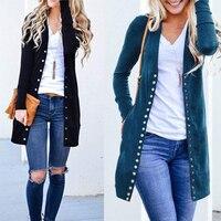 Новинка, Модная элегантная Осенняя длинная куртка, пальто для женщин, длинный рукав, тонкий вязаный кардиган, верхняя одежда, свитер для жен...