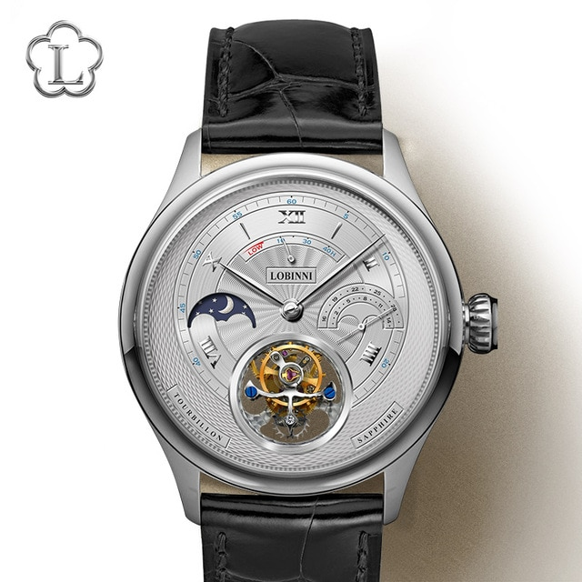 LOBINNI Men Tourbillon Watch Men Moonphase Watch Luxury Automatic Mechanical Wristwatch Sapphire Power Reserve Skeleton Dial