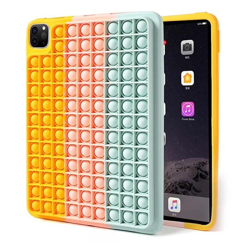 iPad Case For iPad 2020 2021 Pro 11 12.9 M1 2019 10.2 7 8th Pop Fidget Toys Push It Bubble Soft Silicone Relive Stress