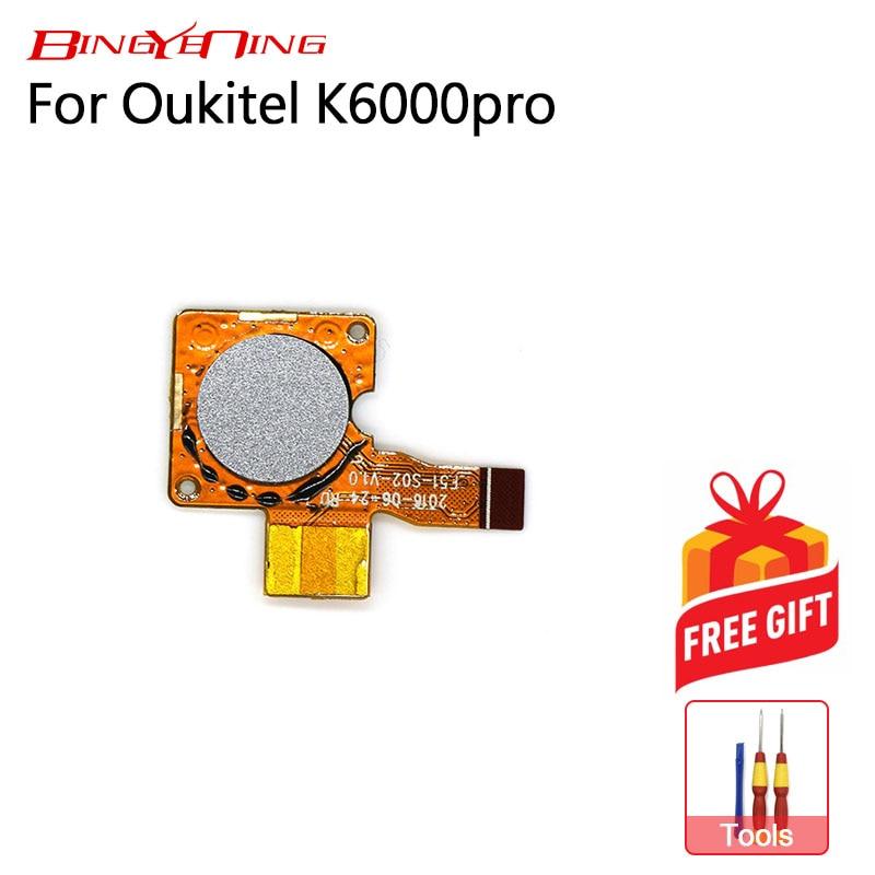 BingYeNing Original a estrenar para Oukitel K6000 Pro Sensor de huella digital botón de inicio reemplazo de cable flexible