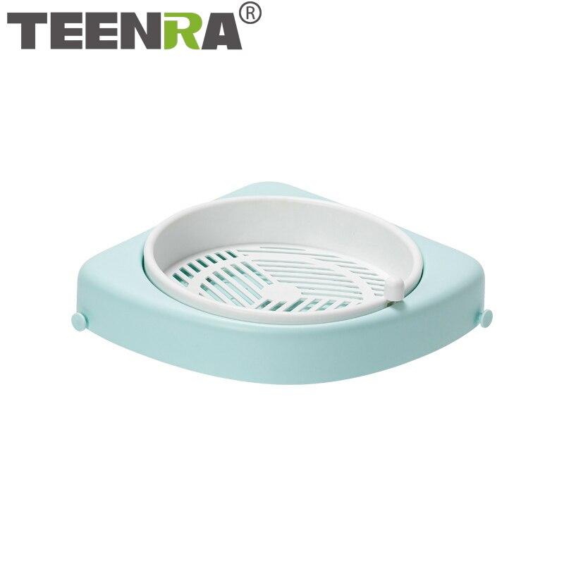 TEENRA المنزلية المطبخ الحمام جدار ثقب خالية رف دوران يمكن استنزاف رف الزاوية اكسسوارات المطبخ المنزلية