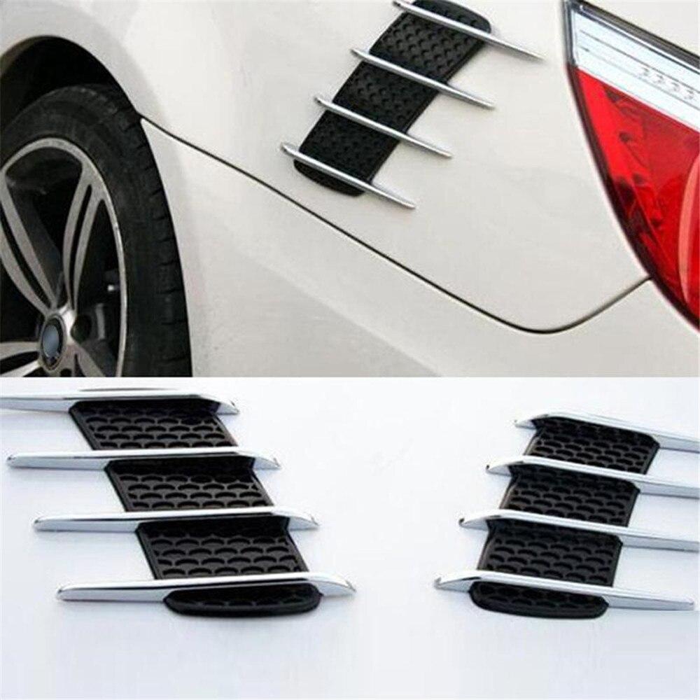 2 uds bien cromo tiburón branquias 3D pegatinas de coche de ventilación laterales de flujo de aire adhesivo Auto camión estilo de coche calcomanía exterior 3D etiqueta engomada del coche