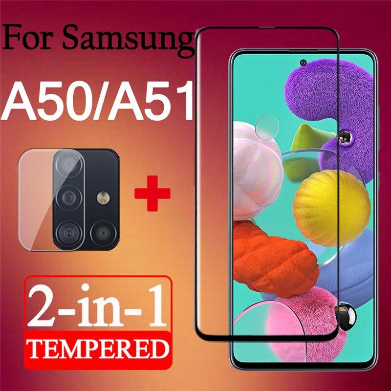 Para Samsung a51 protector de pantalla a50 vidrio templado glass galaxy a 50 51 galaxy a51 con lente de cámara cam film protector de pantalla 3d