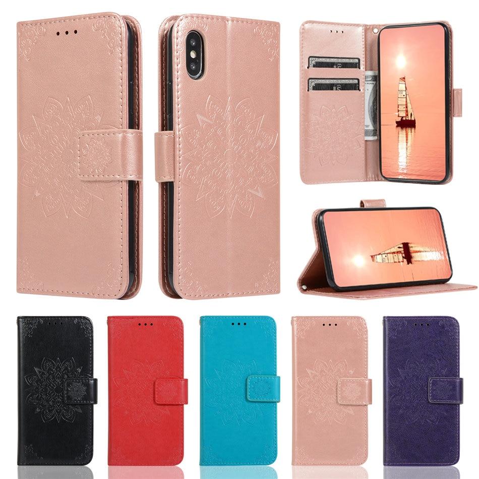 Caso de cartera para Samsung Galaxy S20 Ultra S10E S10 S9 S8 A7 A8 Plus 2018 J3 J5 J7 A5 2017 cuero ranuras de tarjeta Mandala cubierta D33F