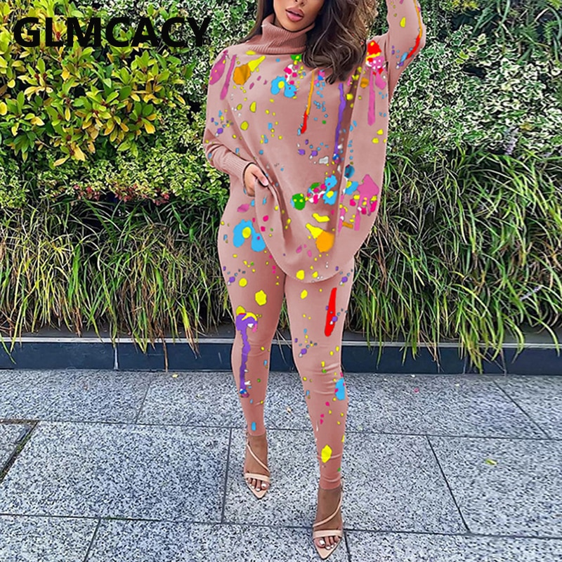 Women Two Piece Causal Printed Suits Batwing Sleeve Turtle Neck Top & Skinny Pants Set