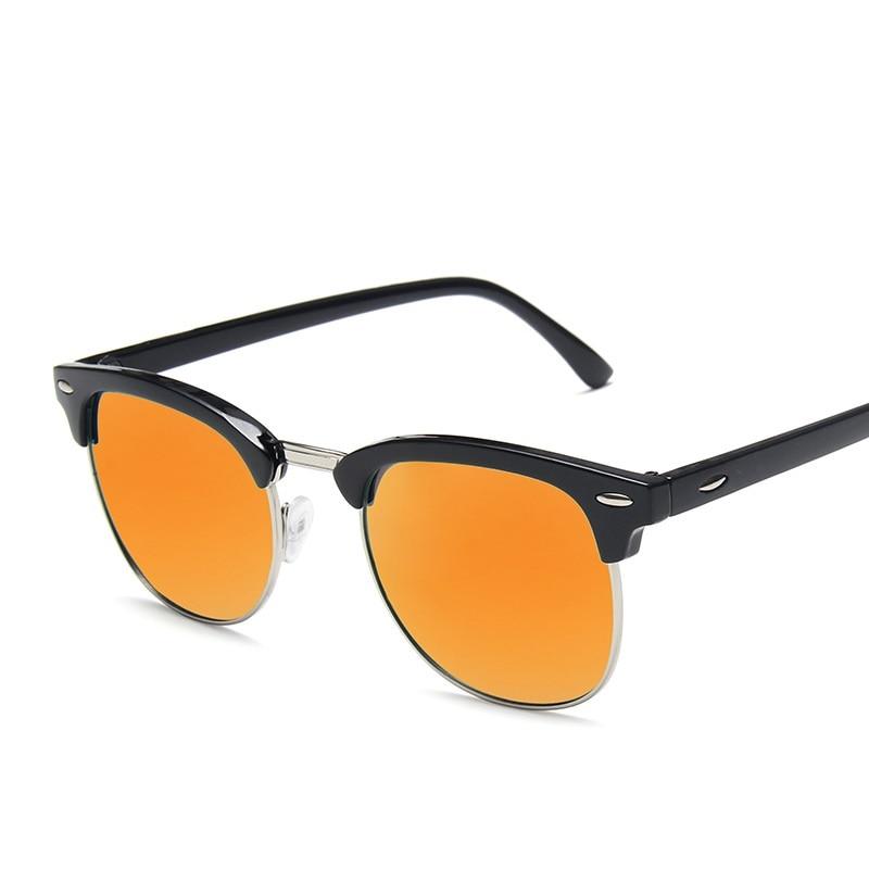 Retro Semi Rimless Eyeglasses Fashion Travel Sunglasses For Women Coating Sun Glasses Vintage Oculos