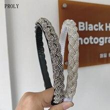 PROLY New Fashion Women Hairband White Black Braid Headband Shining Rhinestone Baroque Headwear Girl