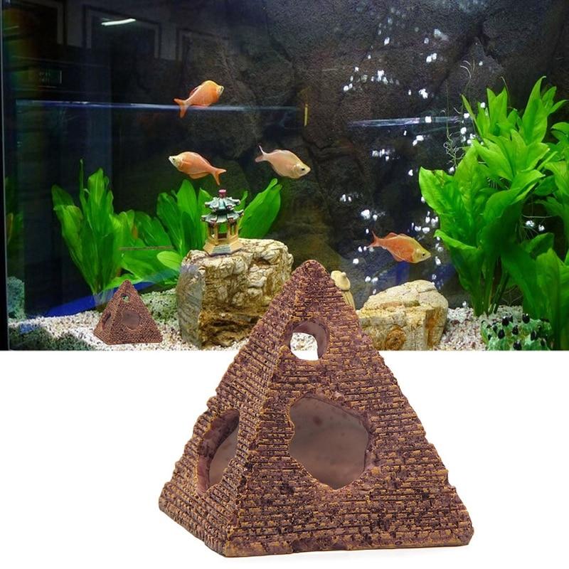 Tanque de peces pirámide egipcia decoraciones de Acuario Egipto antigua decoración con edificios Acuario Casa de cueva de roca para ornamentos de camarones y peces