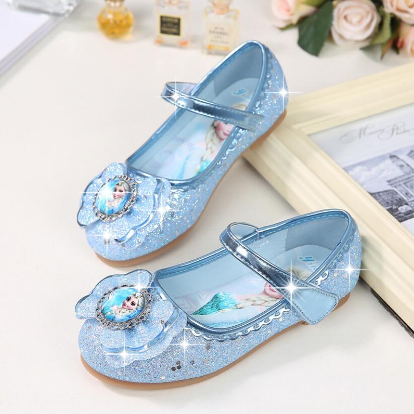 Zapatos de vestir de boda para niños y niñas, zapatillas de princesa Elsa con moñito, zapatos de cuero púrpura, rosa y azul, zapatos casuales planos para niñas