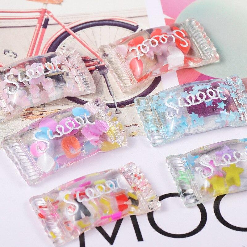 10 шт./лот, подвески из прозрачной смолы для конфет, 18*33 мм, украшения для волос, серьги, ожерелье