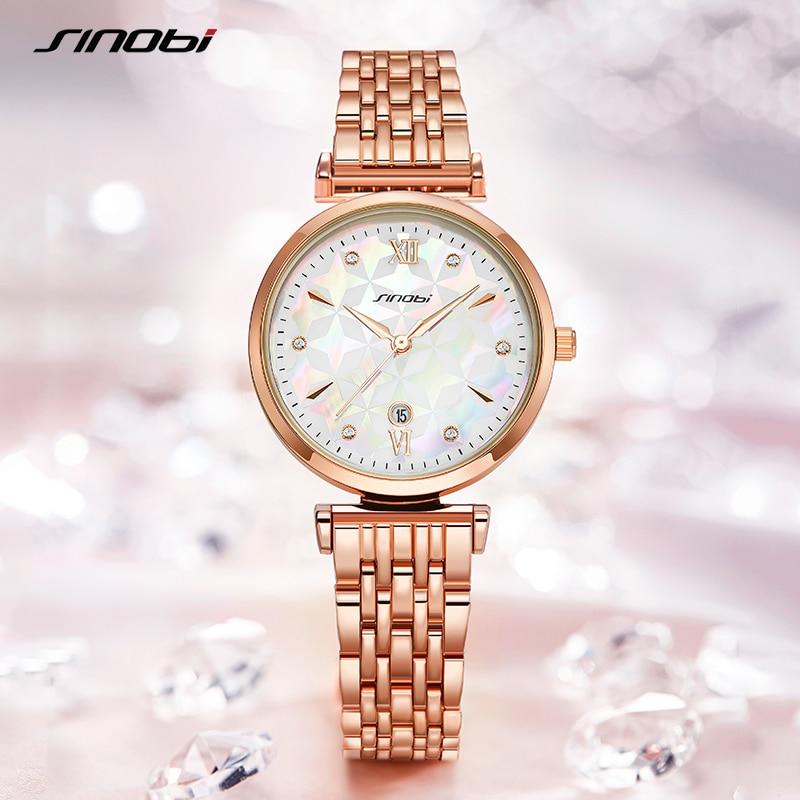 Fashion Sinobi Shell Face Casual Women Watches Luxury Elegant Woman Quartz Wristwatches Stainless Girl's Golden Geneva Watch enlarge