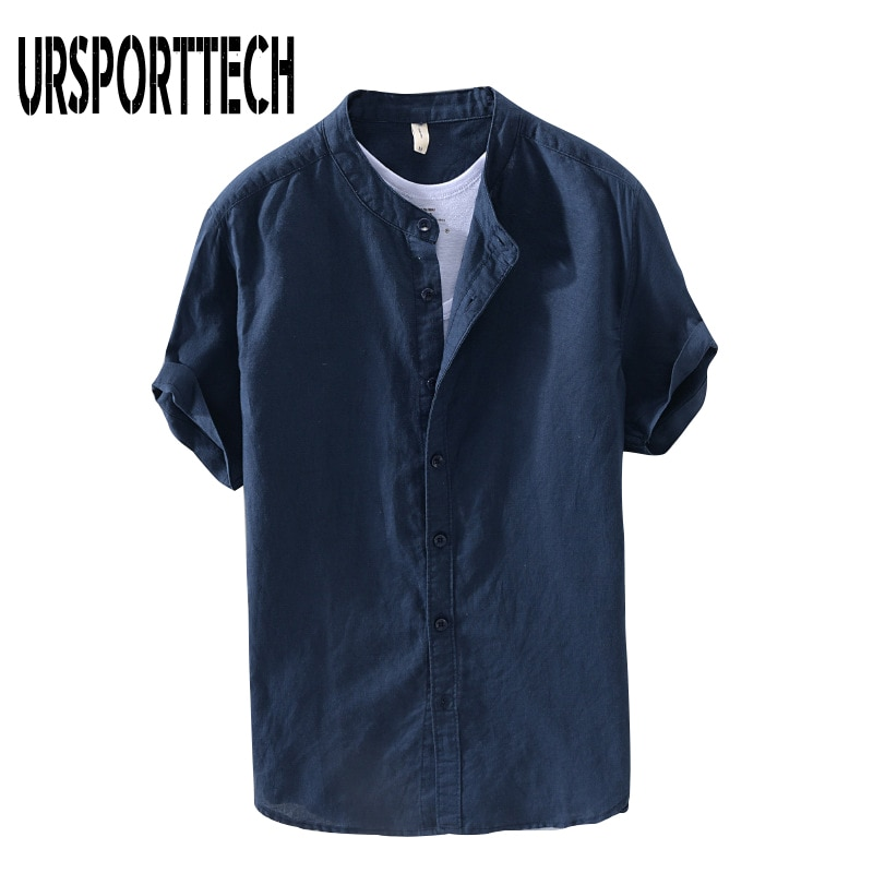 URSPORTTECH 2020 New Vintage Mens Shirt Summer Cotton Linen Loose Casual Solid Short Sleeve Button Tops Harajuku Brand Blouse
