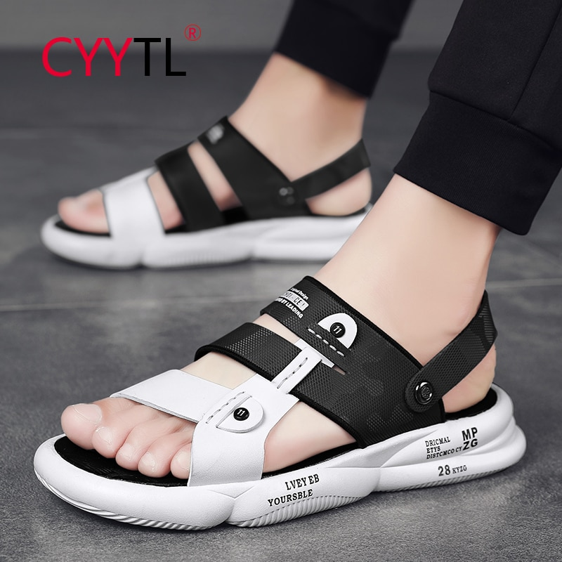 CYYTL Men's Classic Summer Leather Open Toe Sandals Outdoor Soft Slippers Fashion Beach Breathable Thick Sole Casual Shoes