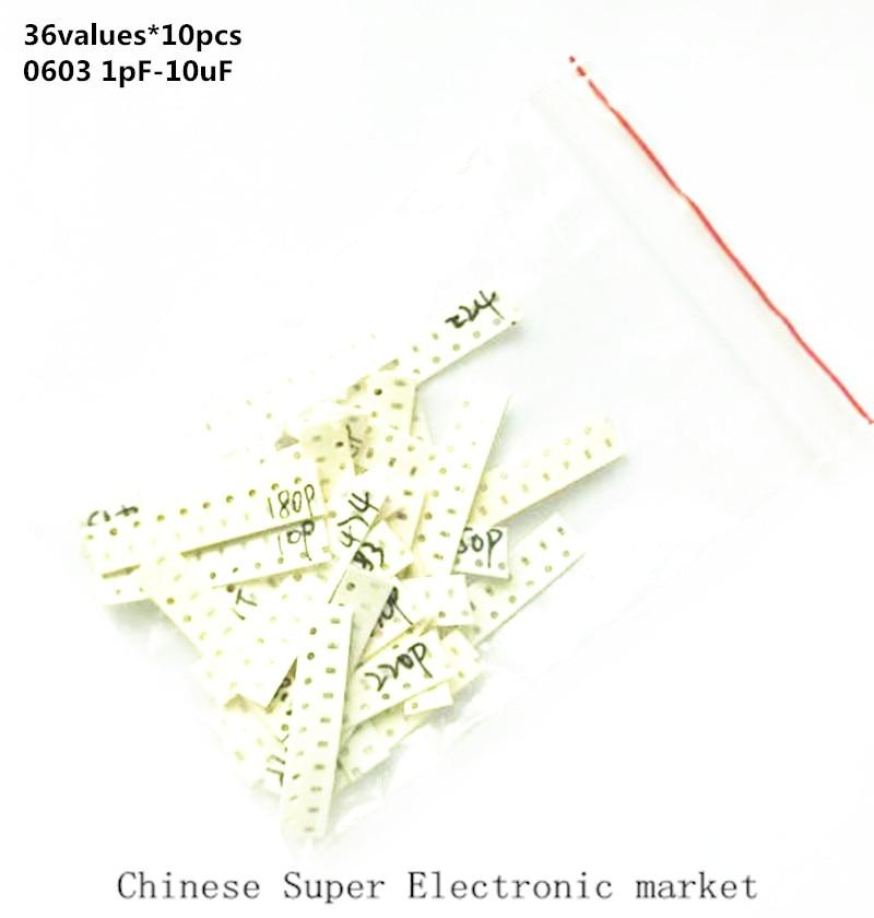 36values*10pcs=360pcs 0603 SMD Capacitor assorted kit 1pF-10uF component diy samples kit