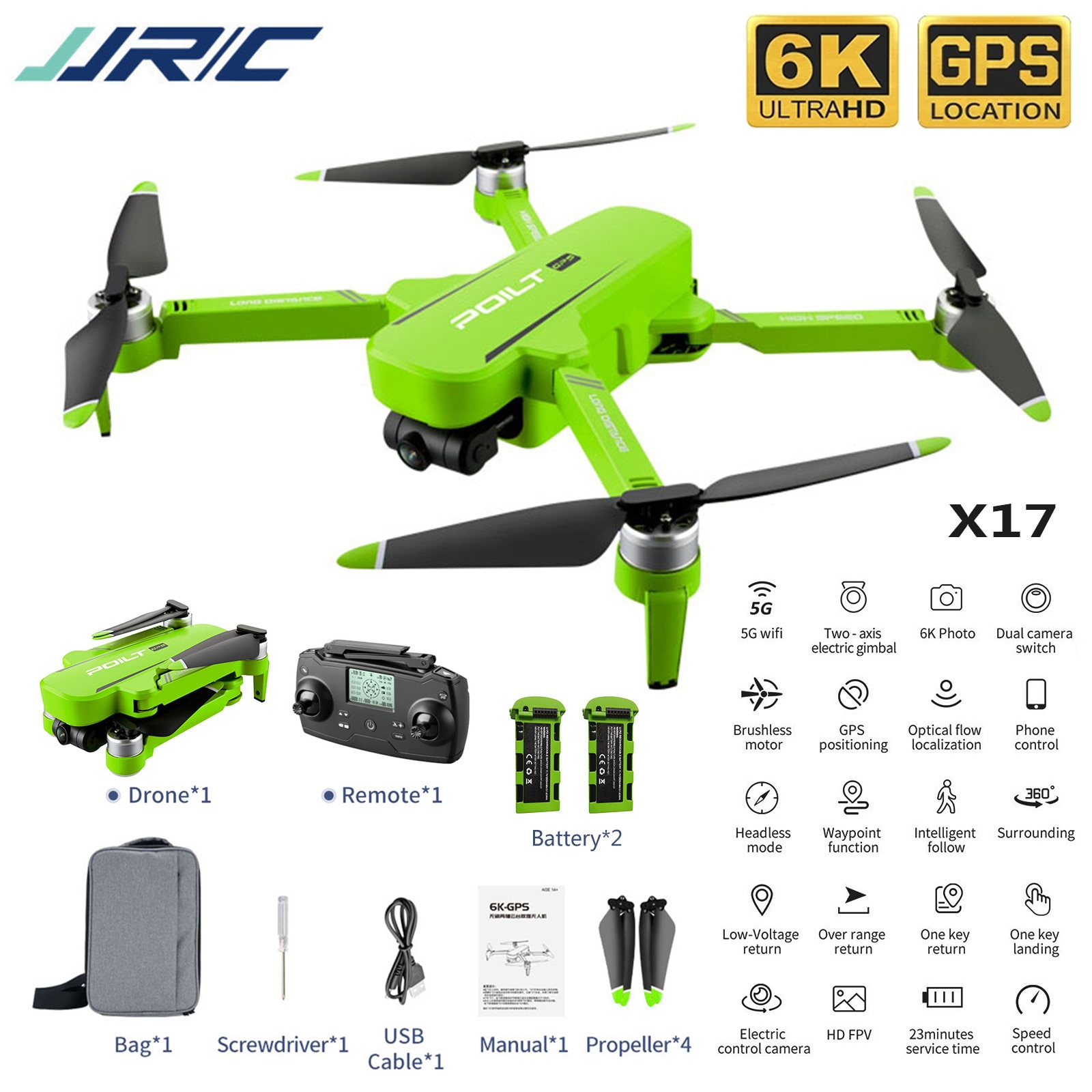 Jjr/c X17 5G 6K-GPS Brushless Two-axis Gimbal Dual Camera Drone 1km Long-distance 30min PROfessional Drone Foldable Quadcopter#Z