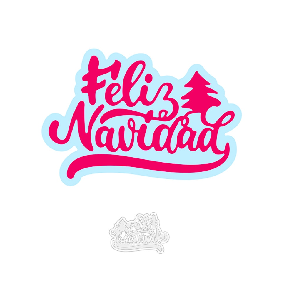 Palabras en español Feliz Navidad de corte de Metal muere en relieve...