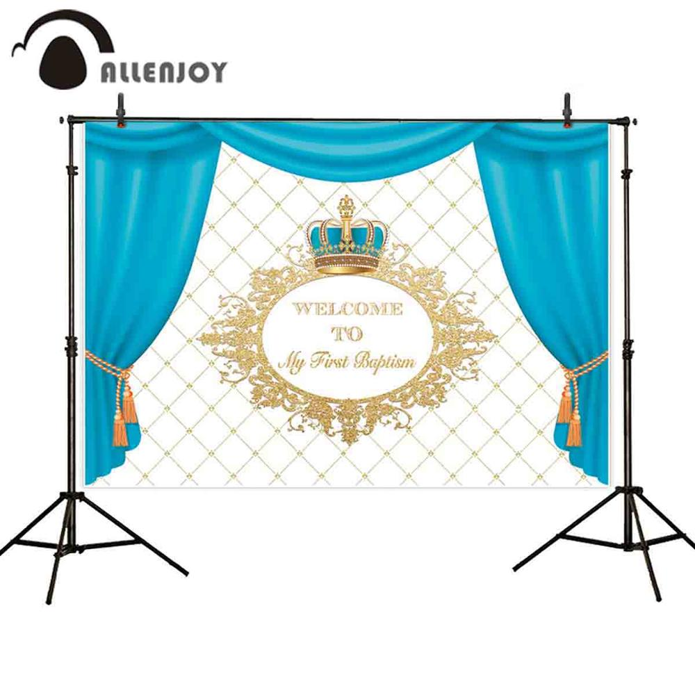 Allenjoy синие шторы вечерние золотые блестящие решетки корона ребенок новорожденный обои ткань детское крещение праздновать дома Фон