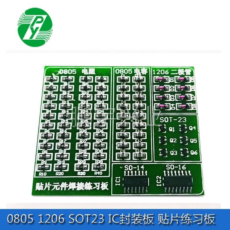 0805 1206 SOT23 IC tablero de embalaje parche práctica habilidades entrenamiento especial PCB Patch Board