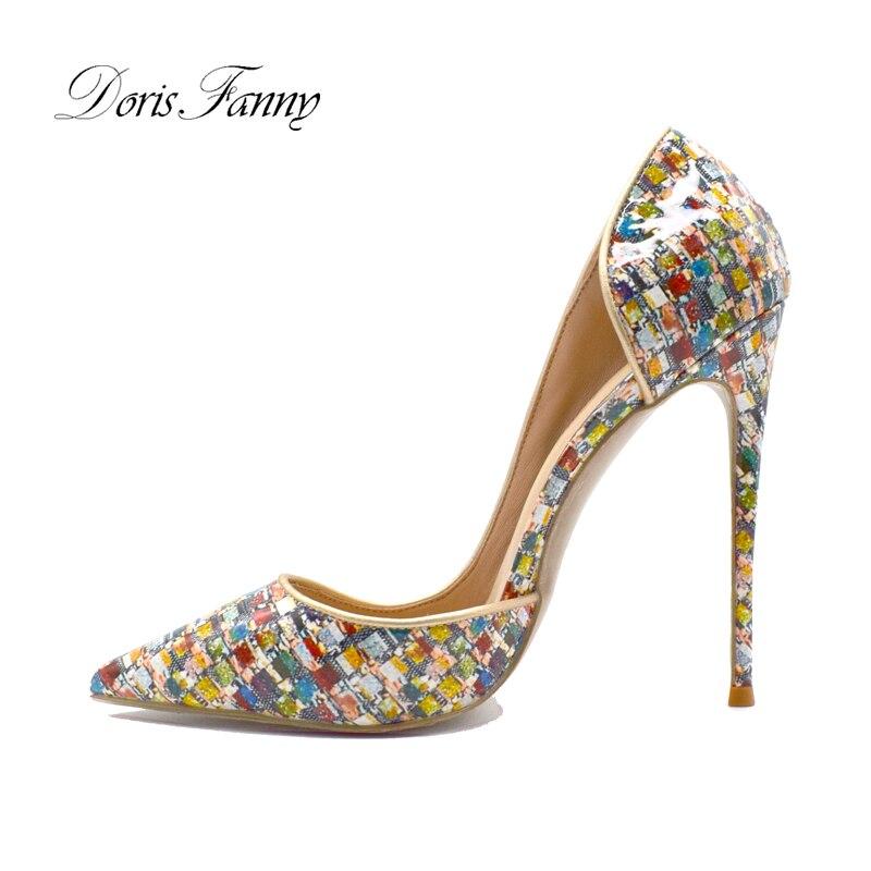 Doris Fanny Impresso Multicolorido Sapatos Femininos Bombas Salto Alto Stiletto Tamanho Grande