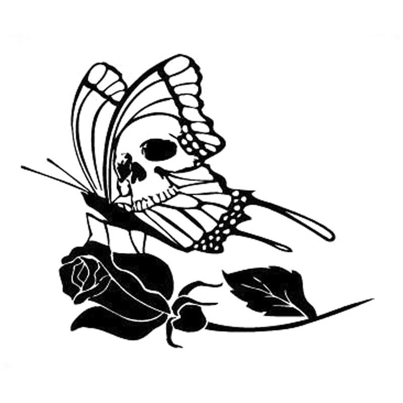 Tatuaje de personalidad mariposa cráneo Rosa Carro de flores Sticke accesorios motocicleta pegatina vinilo impermeable coche ventana PVC