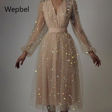 Wepbel High Waist Party Sexy Long Dresses Mesh V-neck Sequin Gauze Dress Women French Style Mesh A-l