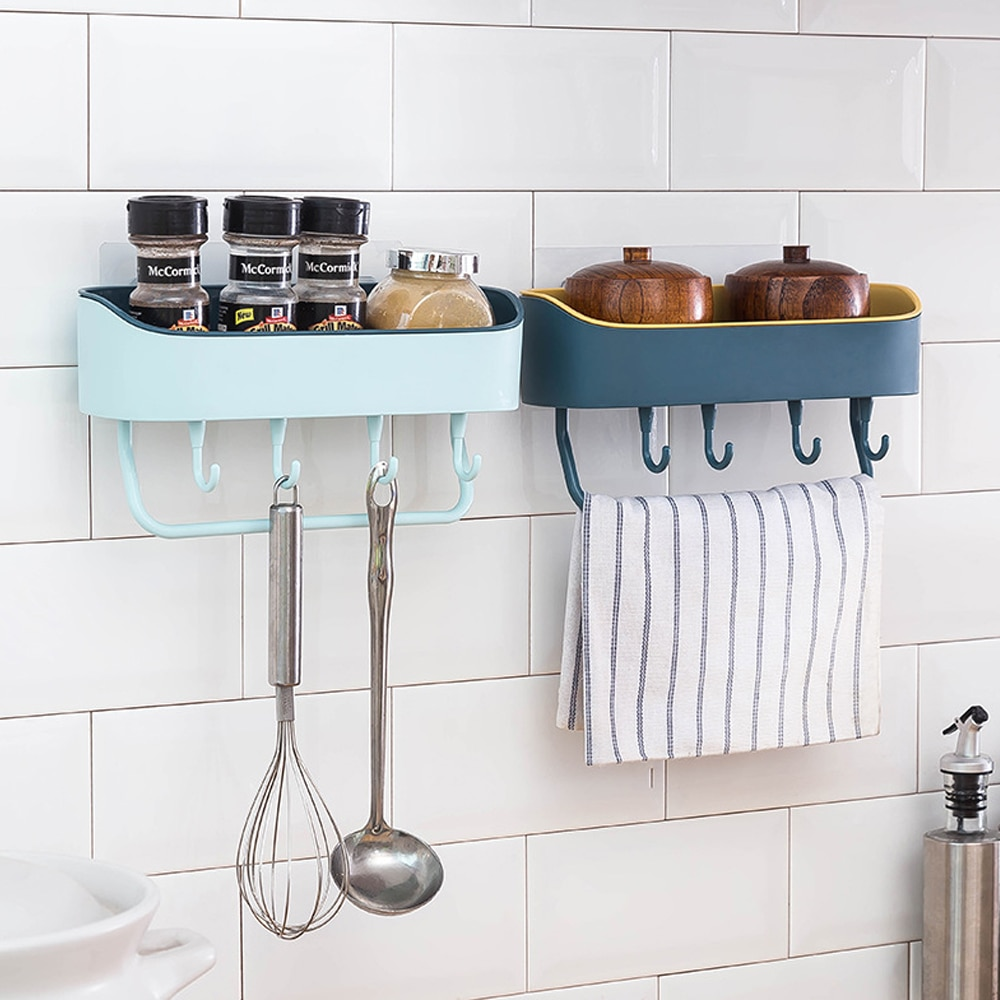 Bathroom Rack Wall Shelf Dish Drainer with Towel Hook Bar No Drilling Tray Kitchen Storage Cabinet Bathroom Accessories Supplies