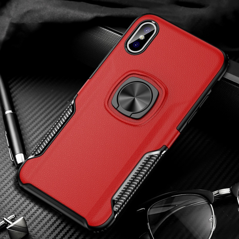 Funda de silicona resistente a prueba de golpes de lujo para iPhone X XS Max XR 7 8 6 6s Plus Teléfono de cuero funda con soporte magnético para coche