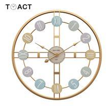 Horloge murale ronde rétro nordique en 3D   Décor bricolage, style romain romain, horloge murale de luxe pour maison, décor de salon Bar café, montre silencieuse