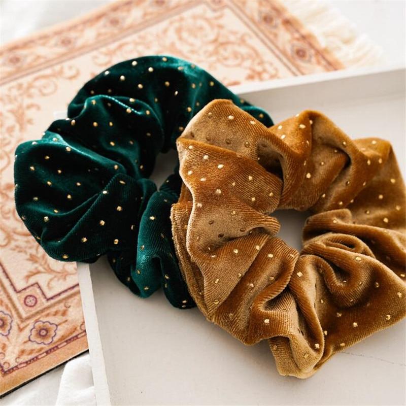 Shiny Velvet Hair Scrunchies For Women Elastic hair band Rubber Ponytail Holders Ties For Girls Soft Hairband Hair Accessories
