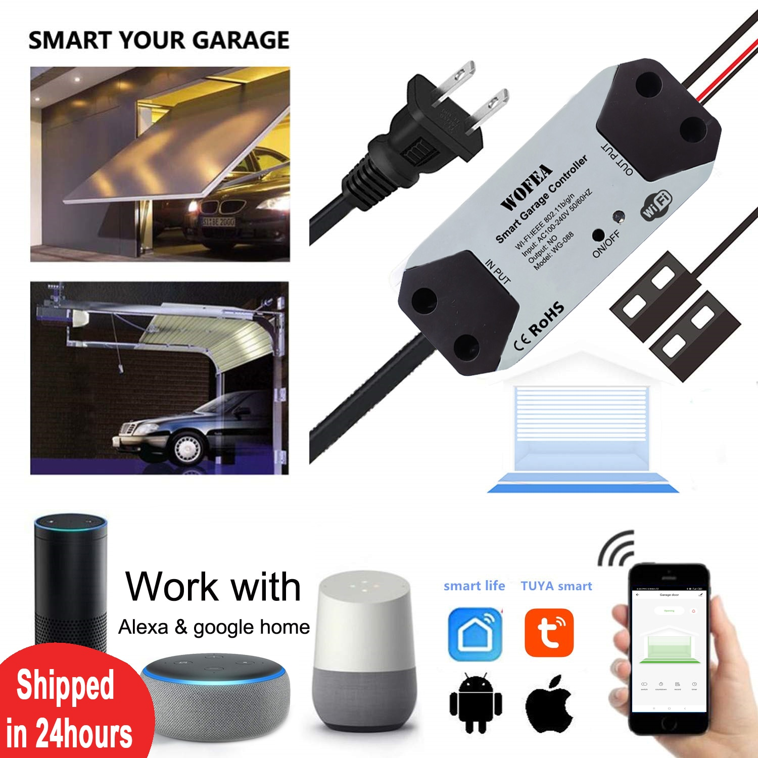 Wofea WiFi Switch Smart Garage Door Opener Controller Work With Alexa Echo Google Home SmartLife/Tuya APP Control No Hub Require