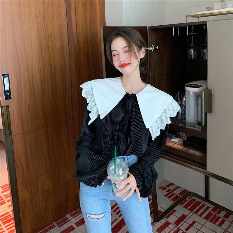 HziriP coreano elegante PANA fresca caliente calle alta Retro encaje 2020 básico para mujer suave Casual suelto todas las camisas del partido