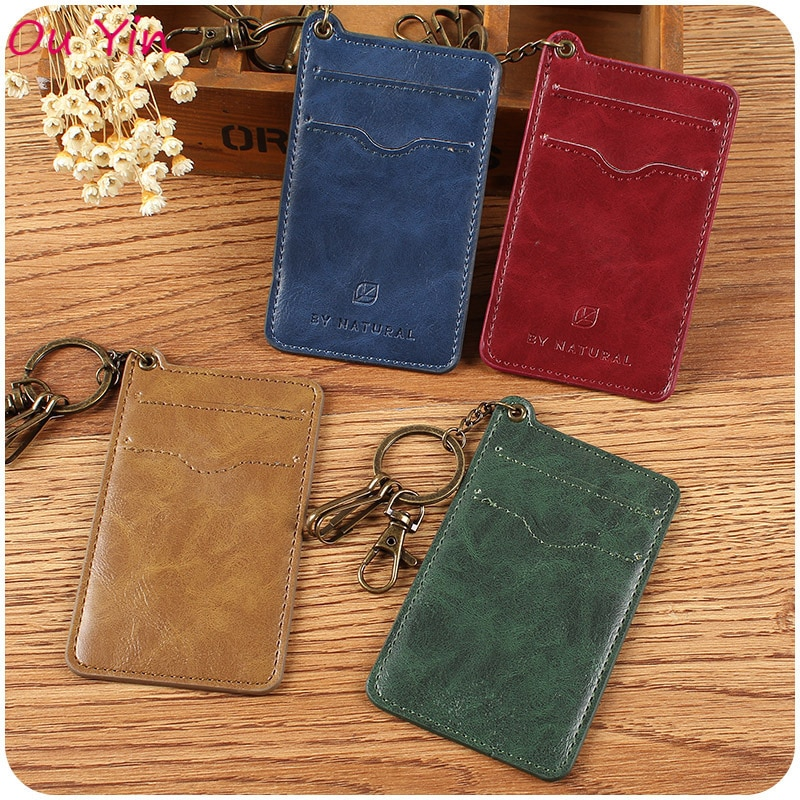 Retro PU Leather Credit Card Holder Access Card Badge ID Card Protective Case Keychain Card Case stylish protective pu leather case w card holder slots for iphone 5 pink