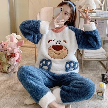 Coral Fleece Autumn Winter Pajamas Women's Thickened Warm and Cute Bear Suit Flannel Student Korean Style Loose Home Wear