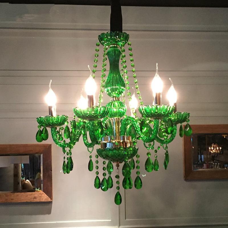 Moderna lámpara LED de araña de cristal verde, lámpara para comedor, sala de estar, accesorio de techo, lámpara colgante de interior, Lámpara decorativa para el hogar