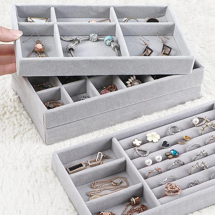 3PCS/set Drawer Velvet Jewelry Storage Tray Ring Bracelet Gift Box Jewlery Organizer Earring Holder Jewelry Display Case