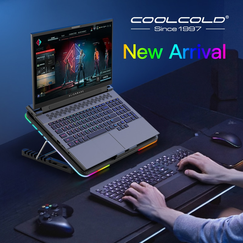 Coolcold-قاعدة إضاءة RGB للكمبيوتر المحمول ، ومروحة للكمبيوتر الدفتري بستة مراوح LED ، ومبرد للكمبيوتر المحمول لألعاب الفيديو ، مع حامل للهاتف ، من ...