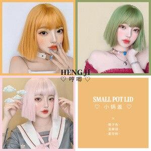 Women's Straight Short Hair Natural Bobo Internet-Famous round Face Orange cosplay accessories lolita wig  gothic lolita
