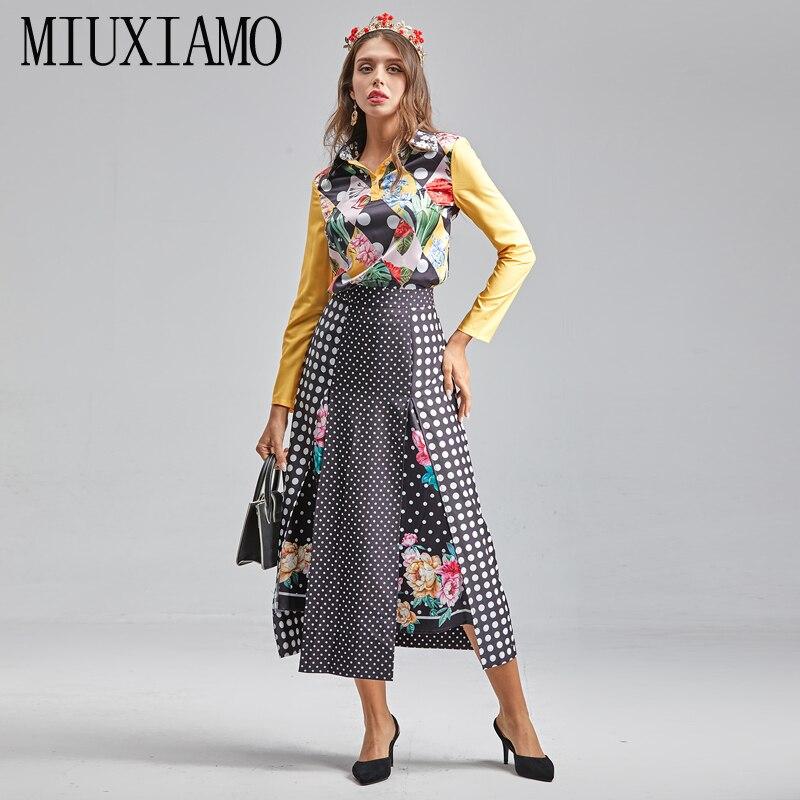 MIUXIMAO 2021 الربيع الصيف الكامل SleeveTops زهرة طباعة البولكا نقطة خياطة نصف تنورة خمر شيك النساء 2 قطعة مجموعة Vestidos