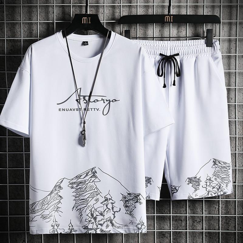 تي شيرت رجالي + مجموعة تي شيرتات قصيرة للأطفال الصيف تنفس عادية تي شيرت تشغيل مجموعة موضة Harajuku مطبوعة الذكور الرياضة البدلة 2021 جديد