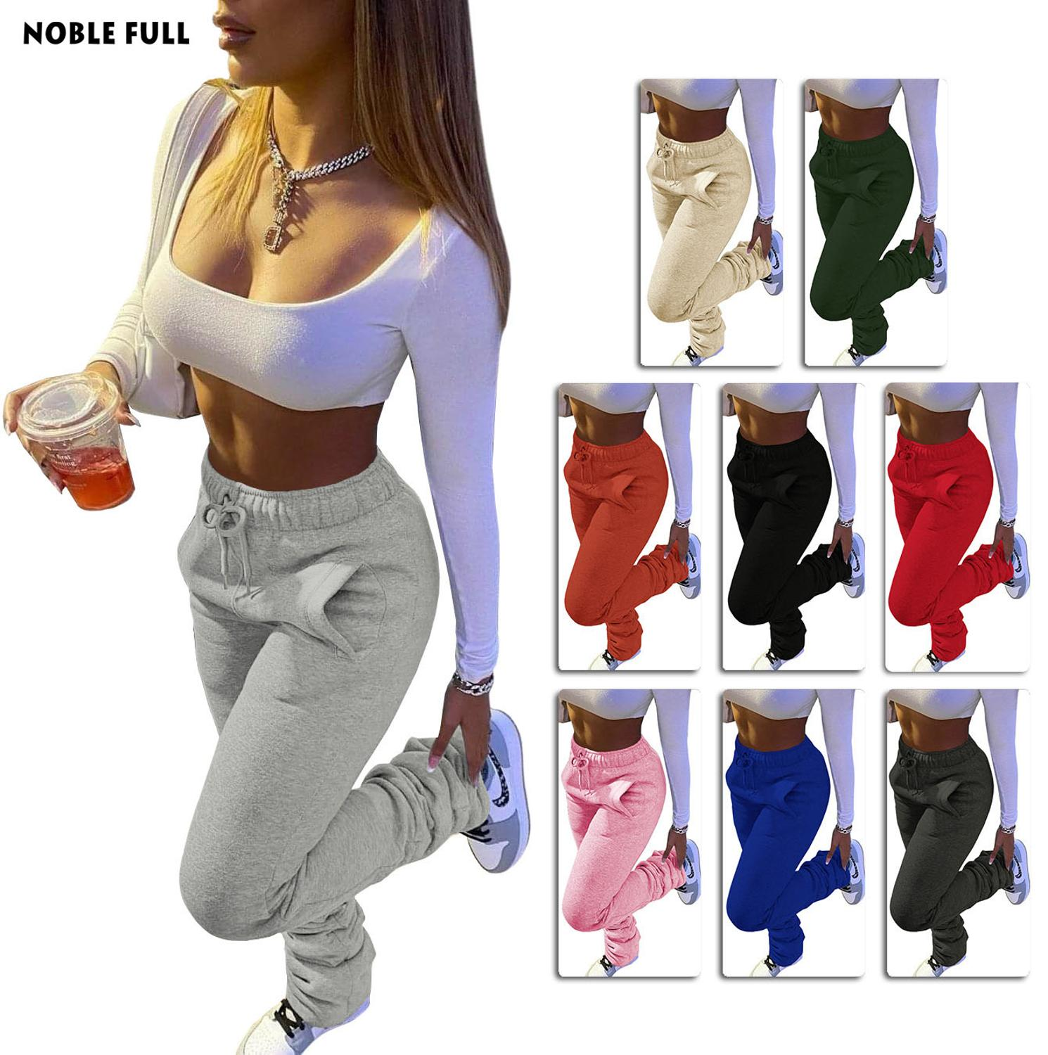 Streetwear Women Wide Leg Flare Stacked Ruched Pants High Waist Leggings Trousers Sportswear Sexy Tr