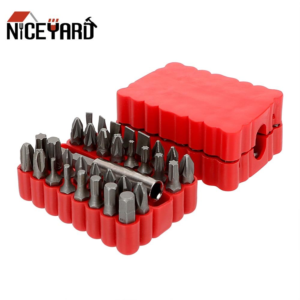 Puntas de destornillador NICEYARD 33 en 1, puntas de seguridad a prueba de manipulaciones, soporte magnético de extensión de broca, Kit de Llaves hexagonales Torx Star
