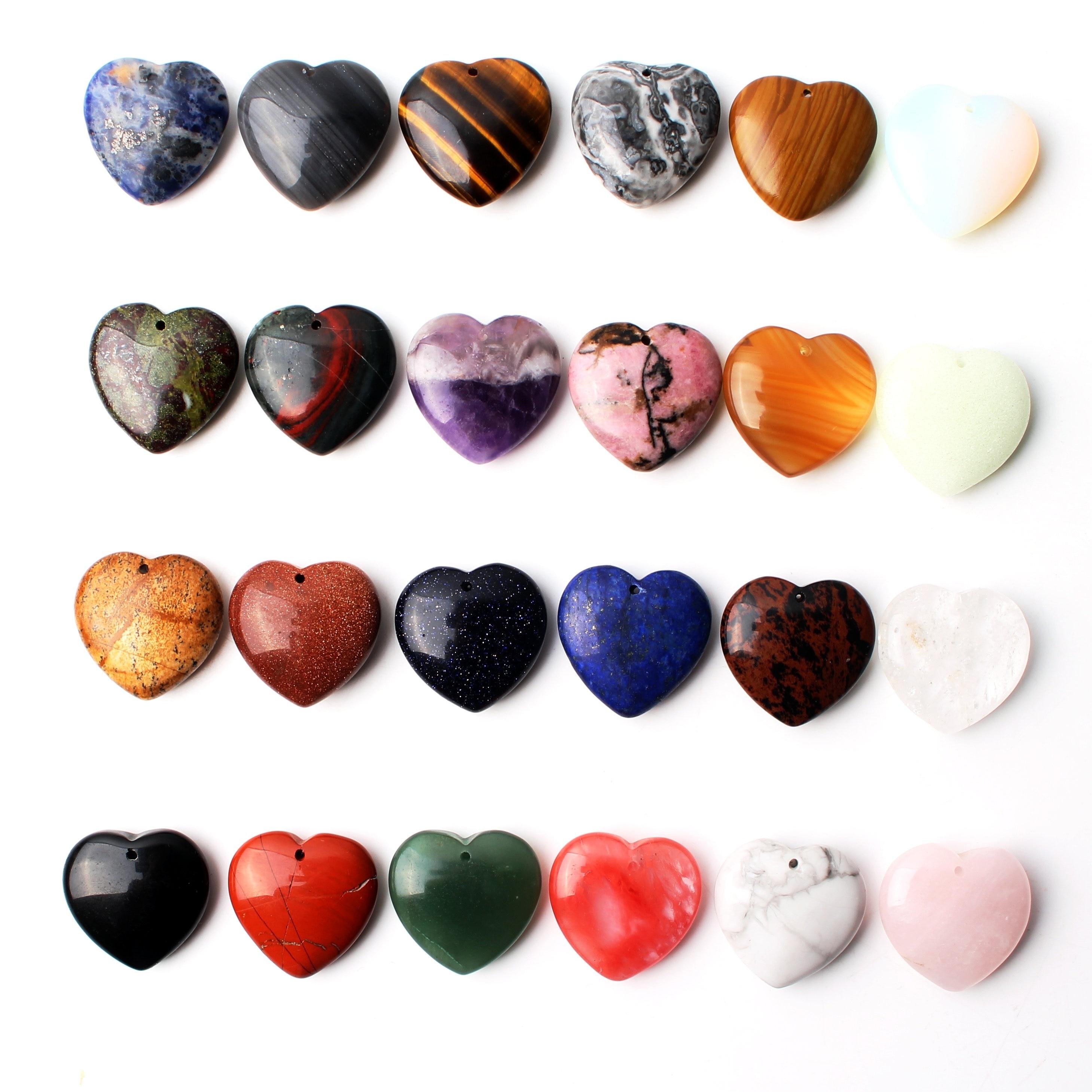 Cristal Natural amatista rosa cuarzo forma de corazón colgante con agujero collar accesorios joyería hacer piedra Reiki curación regalo